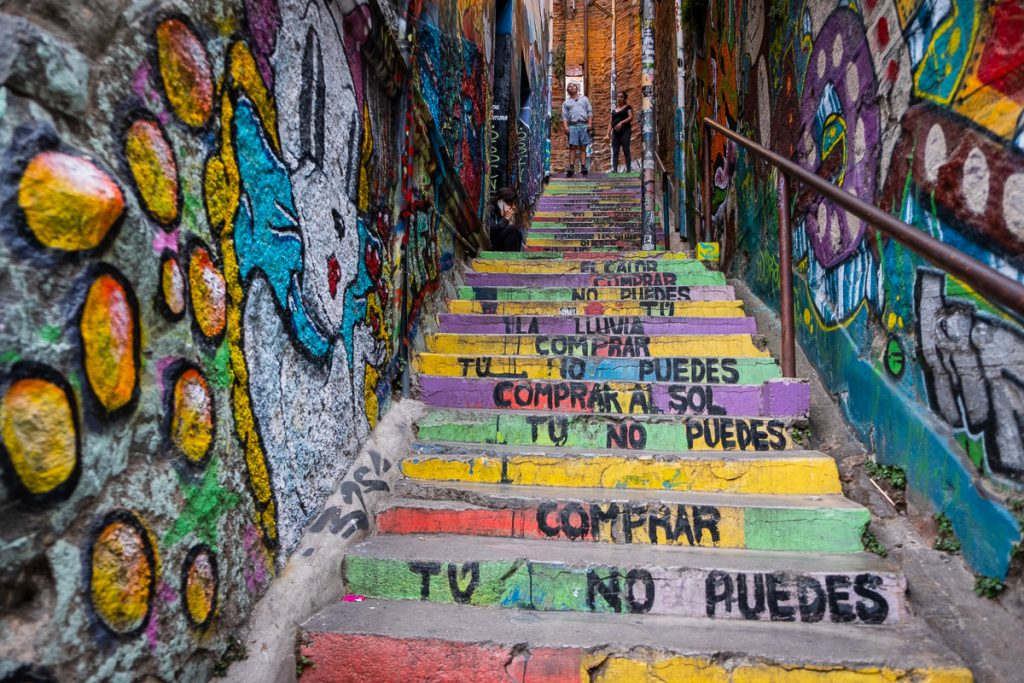 Street art stairs in Valparaíso Chile