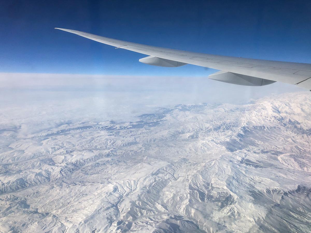 Travel, airplane, view, snow, mountains