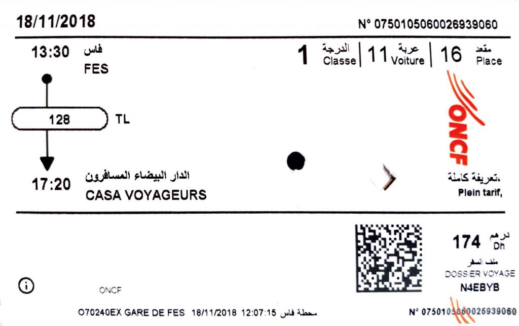 Train ticket Fez Morocco Casa Voyageurs ONCF