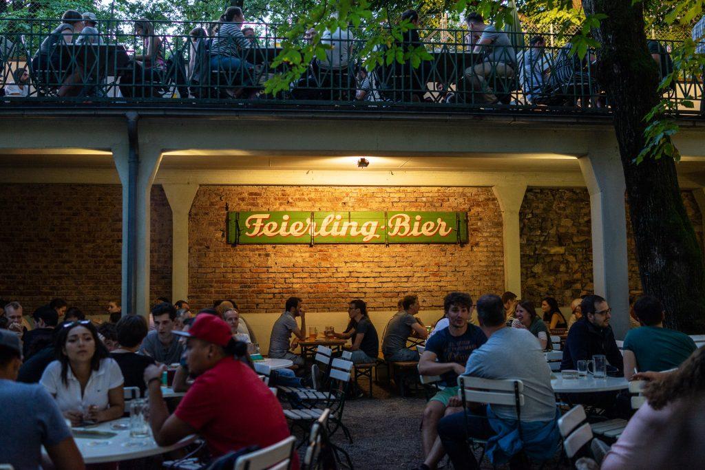 Freiburg im Breisgau, Germany, Feierling Biergarten, beer, wine, summer, people
