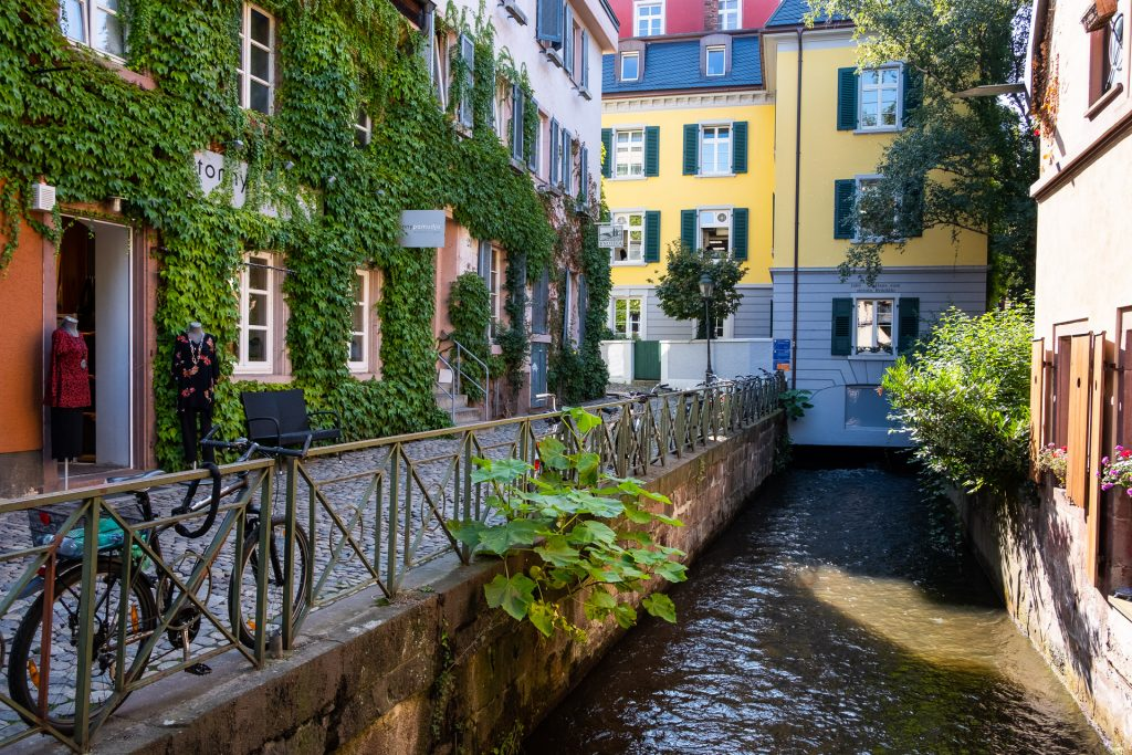 Freiburg im Breisgau , Tyskland Germany, Baden Württemberg, pastel, houses, view, street, canal, bike, bicycle,