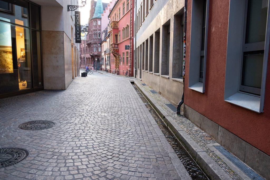 Freiburg im Breisgau , Tyskland Germany, Baden Württemberg, pastel, houses, view, street, bächle