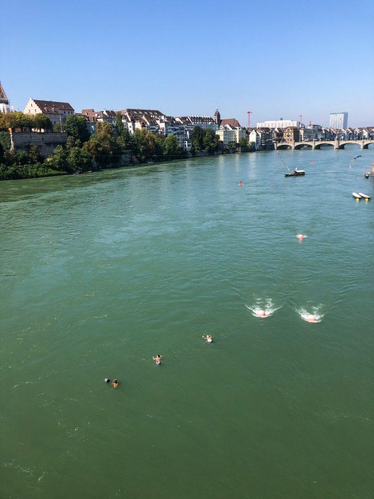 Rhein, Rhine, Switzerland, Sveits, Basel, swimming, floating, summer
