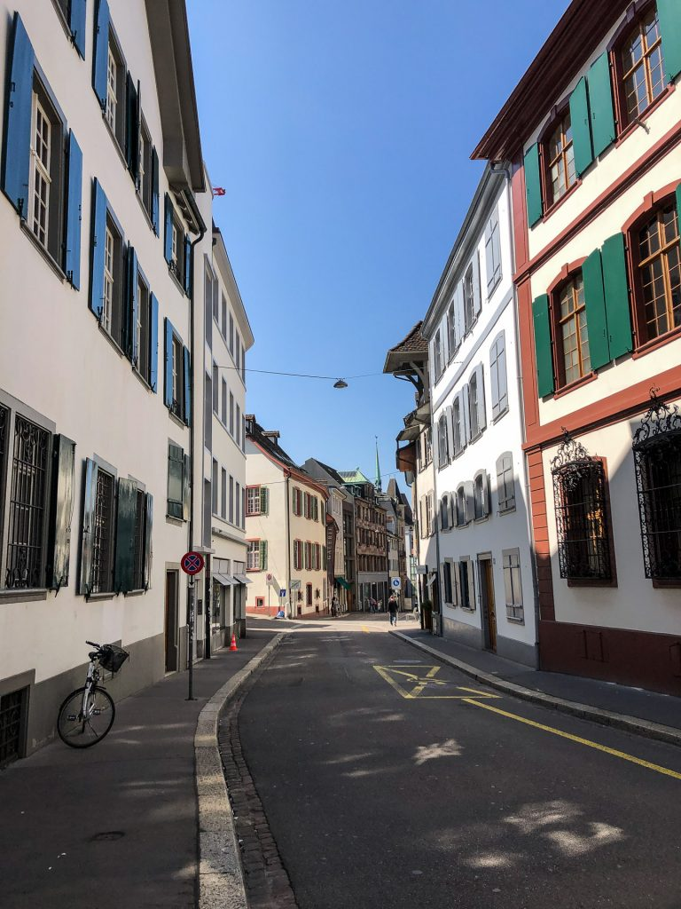 Basel, Switzerland, Sveits, city centre, buildings, bicycle, colors