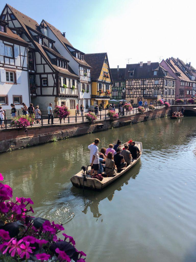 Colmar France Alsace street travel Little  Venice canal boat summer