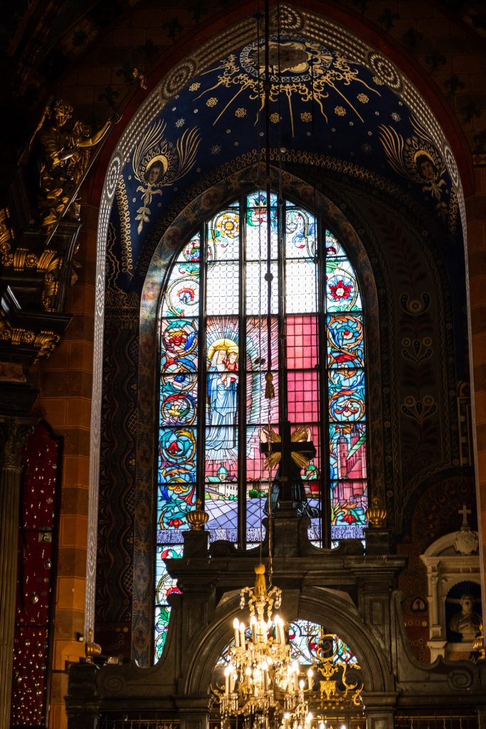 Krakow, Poland, cathedral, details, glass, church